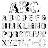 Decorative alphabet. Hand drawn decorative black and white alphabet Stock Photography