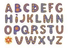 DECORATIVE ALPHABET Color Vector Illustration Magic Beautiful Picture Paint Drawing Set Scrapbooking Baby Book Greeting Print Card. Album Fabrics Wall Decor Stock Photography