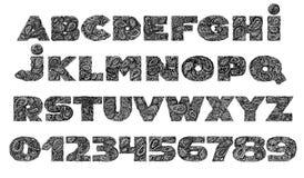 Decorative Alphabet with a paisley zen doodle tattoo ornaments f Stock Photo