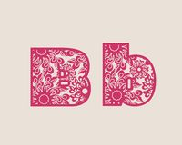 Decorative alphabet vector font. Royalty Free Stock Image