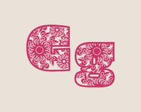 Decorative alphabet vector font. Stock Images
