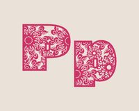 Decorative alphabet vector font. Royalty Free Stock Photography