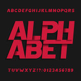 Decorative alphabet vector font. Oblique letters symbols and numbers. stock illustration