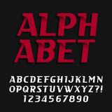 Decorative alphabet vector font. Oblique type letters and numbers. Royalty Free Stock Photos