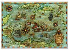 Ancient Caribbean Sea map with pirate ships and islands. Decorative antique background with nautical chart, adventure treasures hunt concept, watercolor hand Stock Photos