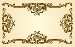 Decorative antique border. Illustration of decorative pattered antique border or frame on cream background with copy space Stock Images