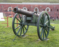 Decorative antique cannon on holiday Royalty Free Stock Photography