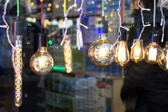 Decorative antique edison style filament light bulbs Stock Photo