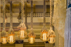 Decorative antique edison style filament light bulbs Stock Image