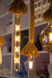 Decorative antique edison style filament light bulbs Royalty Free Stock Photos