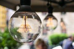 Decorative antique edison style light bulb stock image