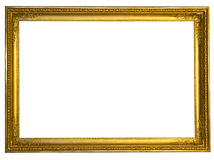 Decorative antique golden frame isolated on white. Background Royalty Free Stock Photography