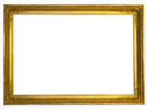 Decorative antique golden frame  on white Royalty Free Stock Image