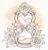 Decorative antique hourglass with roses illustration isolated on Royalty Free Stock Photo