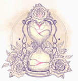 Decorative antique hourglass with roses illustration isolated on Stock Photos