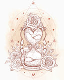 Decorative antique hourglass with roses illustration isolated on Stock Images