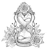 Decorative antique hourglass with roses illustration isolated on Royalty Free Stock Image