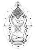 Decorative antique hourglass with roses illustration isolated on. White. Hand drawn vector art. Sketch for dotwork tattoo, hipster t-shirt design, vintage style Royalty Free Stock Photos