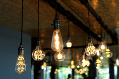 Decorative antique tungsten light bulbs Royalty Free Stock Images
