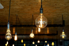 Decorative antique tungsten light bulbs Stock Images