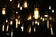 Decorative antique tungsten light bulbs. Pile of decorative antique tungsten light bulbs Stock Photos