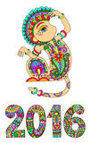 Decorative ape and inscription - 2016 Year of The Monkey. Original design for new year celebration with decorative ape and inscription - 2016 Year of The Monkey Royalty Free Stock Photo