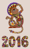 Decorative ape and inscription - 2016 Year of The Monkey. Original design for new year celebration with decorative ape and inscription - 2016 Year of The Monkey Stock Photos