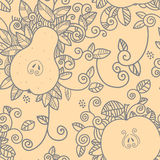 Decorative apple and pear pattern Stock Image