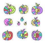 Decorative apples. A set of stickers. Bright color vector illustration isolated on white background. stock illustration