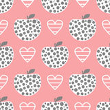 Decorative apples and a striped heart. Cute feminine seamless pattern. Pink, white, dark gray color. Vector illustration Royalty Free Stock Image