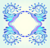 Decorative aquatic blue frame with wave Royalty Free Stock Photo