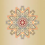 Decorative, arabesques mandala/rosette on soft fabric texture Stock Image
