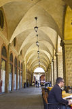 Decorative arcades on the streets in Bologna Stock Image