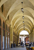 Decorative arcades on the streets in Bologna. Typical, decorative arcades and old architecture on the italian streets in Bologna. Italy, Europe Royalty Free Stock Photo