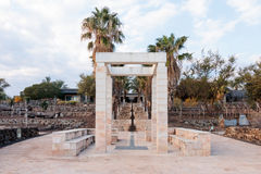 Decorative arch and bench in National Park in Capernaum. Cafarnaum Stock Photo