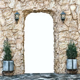 Decorative arch of yellow stone with isolated opening Stock Image