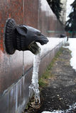Decorative architecture detail with frozen water Stock Photography