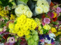 Decorative arranged colorful flowers as a present stock image