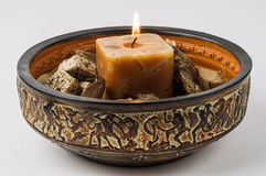Decorative arrangement with lighted candle Royalty Free Stock Photos