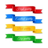 Decorative arrow ribbons with text set. Set of colored decorative arrow ribbons with text. Red, blue, yellow, green banners, vector illustration Stock Image