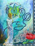 Decorative art. Abstract oil painting of a woman and a circle of life Royalty Free Stock Images