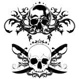 Decorative art background with skull Stock Images