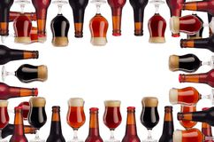 Decorative art frame of beer in bottles and wineglass with foam - lager, red ale, porter - isolated on white background. Concept for brewing industry, design royalty free stock photography