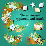 Decorative articles made of corals and colors. Set of decorative articles made of corals and colors stock illustration