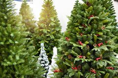 Decorative Artificial Christmas Trees In Store Stock Images