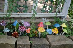 Decorative artificial mushrooms Stock Images