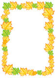 Decorative autumn border frame with color leaf Royalty Free Stock Photo