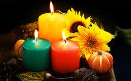 Decorative autumn candles Stock Image