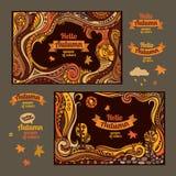 Decorative autumn cartoon cards design Royalty Free Stock Photography