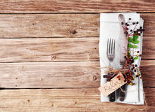 Decorative Autumn Table with vintage silverware and serviette Royalty Free Stock Images